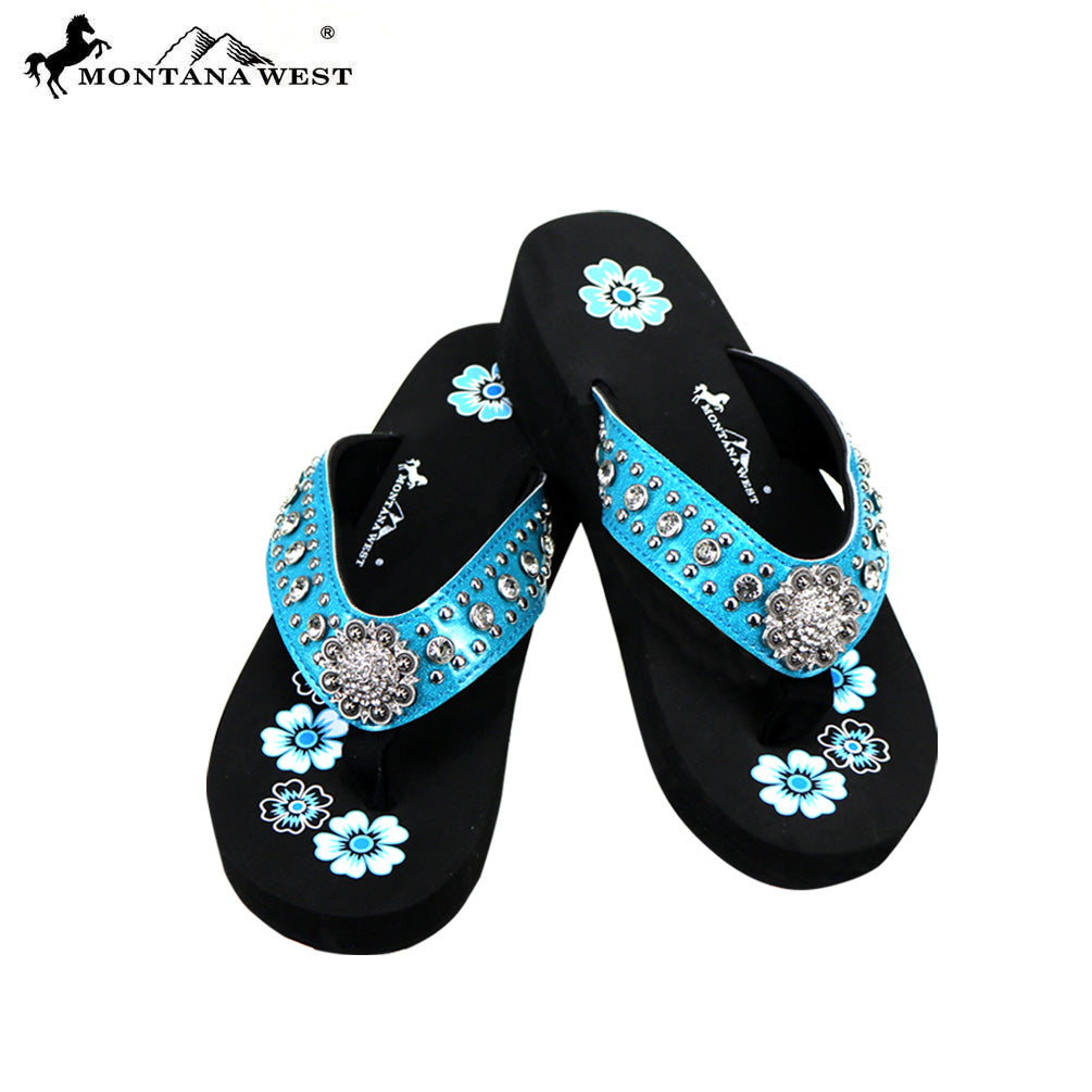 bc15b546c878 SE73-S001 Bling Bling Collection Wedge Flip Flops By Case – MONTANA WEST  U.S.A