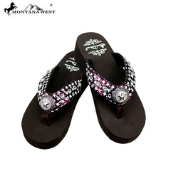 SE74-S089  Crackle Texture Collection Wedge Flip Flops By Case
