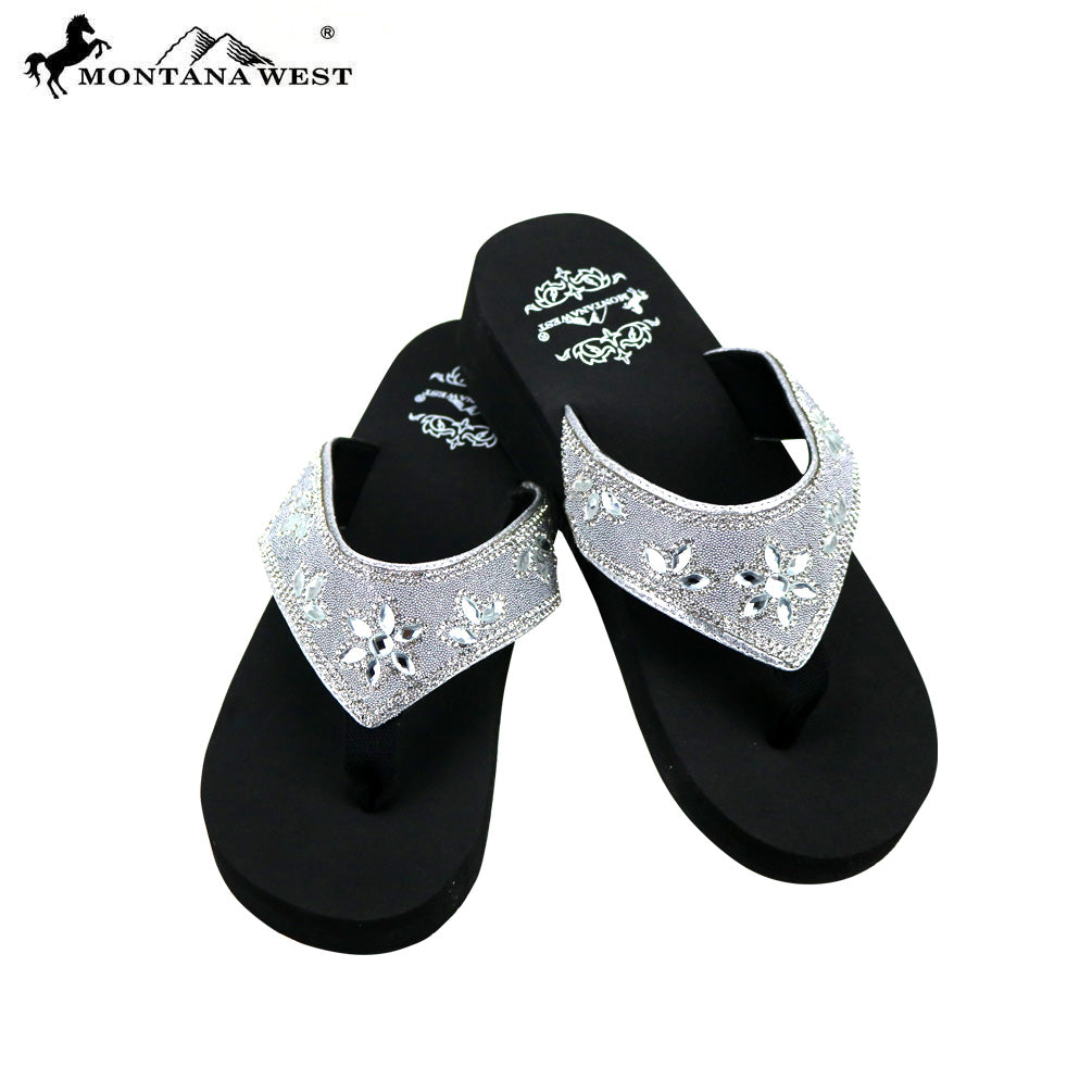 c613d61e0aa5a5 SE81-S088 Bling Bling Collection Wedge Flip Flops By Case – MONTANA WEST  U.S.A