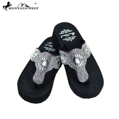 SE83-S088  Bling Bling Collection Wedge Flip Flops By Case