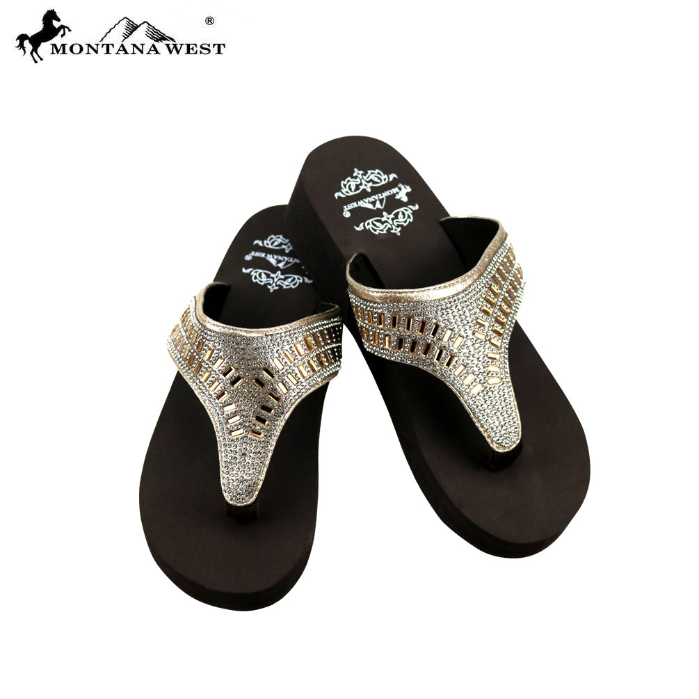 64a1e7e99b22 SE84-S088 Bling Bling Collection Wedge Flip Flops By Case – MONTANA WEST  U.S.A