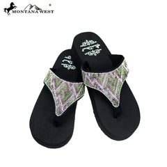 SE87-S088  Bling Bling Collection Wedge Flip Flops By Case