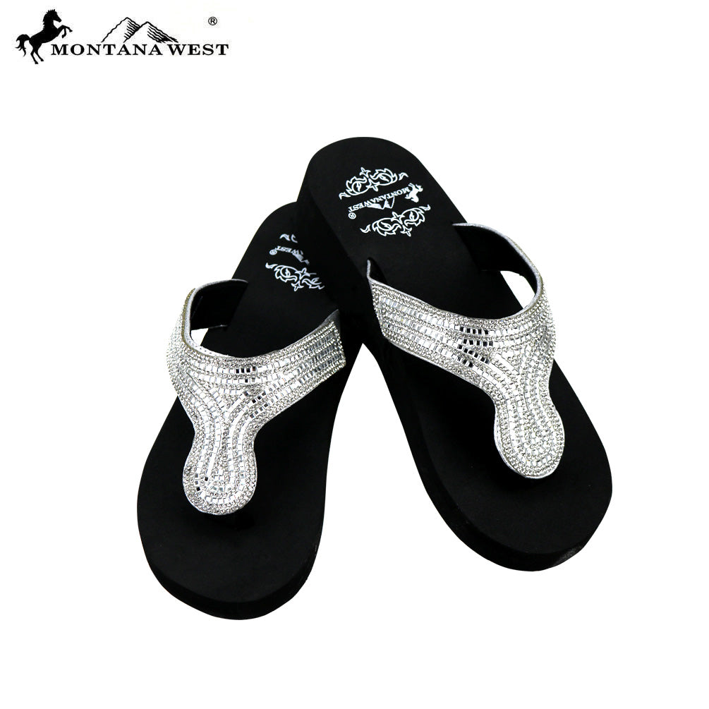 bf61d6d50 SE92-S088 Bling Bling Collection Wedge Flip Flops By Case – MONTANA ...