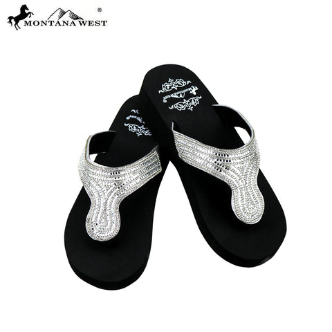 SE92-S088 Bling Bling  Collection Wedge Flip Flops By Case