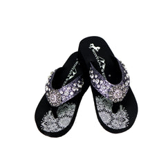 SE94-S001  Mandala Crackle Texture Rhinestones Wedge Flip-Flop By Case