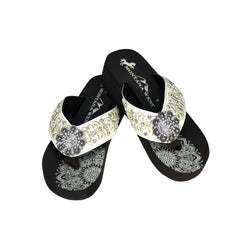 SE95-S001  Mandala Embroidered Rhinestones Wedge Flip-Flop By Case