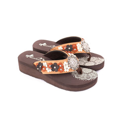SE97-S001  Mandala Floral Applique Wedge Flip-Flop By Case