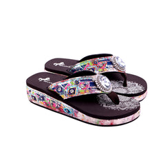 SEF02-S037 Montana West Embroidered Collection Flip Flops By Case