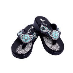 SEF03-S096 Montana West Embroidered Collection Flip Flops By Case