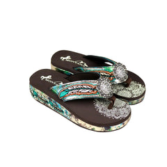 SEF05-S001 Montana West Feather Embroidered Collection Flip Flops By Case