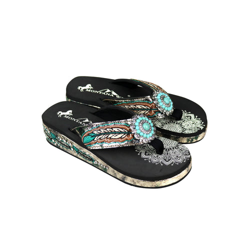 SEF05-S096 Montana West Feather Embroidered Collection Flip Flops By Case