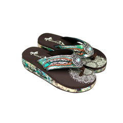 SEF05-S152 Montana West Feather Embroidered Collection Flip Flops By Case
