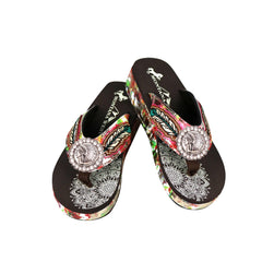 SEF05-S184 Montana West Feather Embroidered Collection Flip Flops By Case