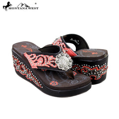 SEH05-S001 Montana West Boot Scroll Platform Flip-Flops Collection BY CASE