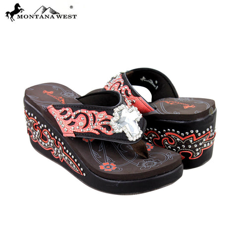 SEH05-S008 Montana West Boot Scroll Platform Flip-Flops Collection By Pair