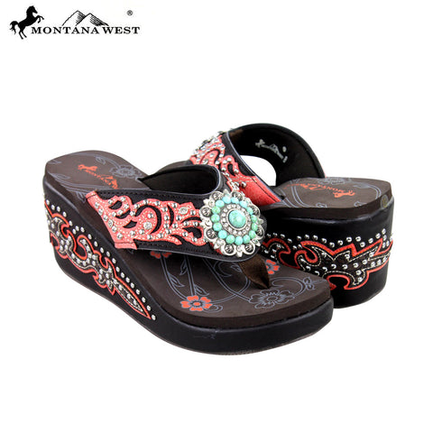 SEH05-S096 Montana West Boot Scroll Platform Flip-Flops Collection By Pair