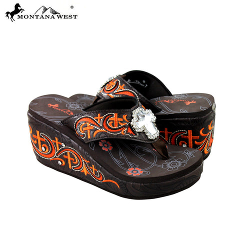 SEH06-S008 Montana West Embroidered Platform Flip-Flops Collection By Size