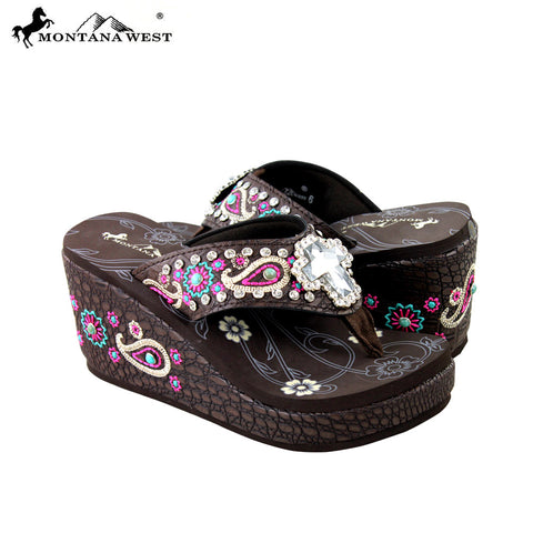 SEH07-S008 Montana West Embroidered Platform Flip-Flops Collection By Pair