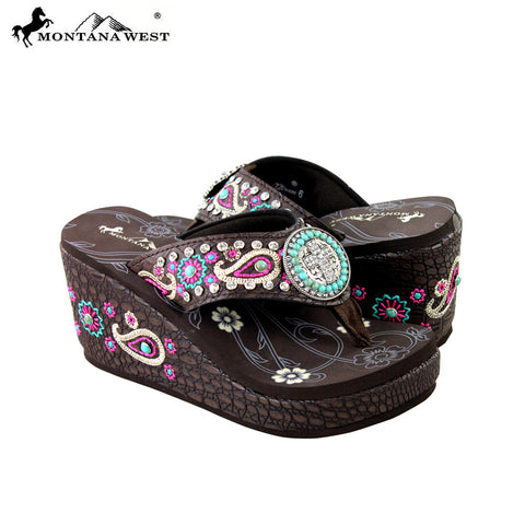 SEH07-S099 Montana West Embroidered Platform Flip-Flops Collection By Pair