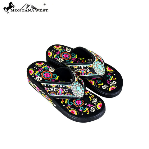 675354899 SF02-S098 Montana West Fun Novelty Embroidered Collection Flip Flops
