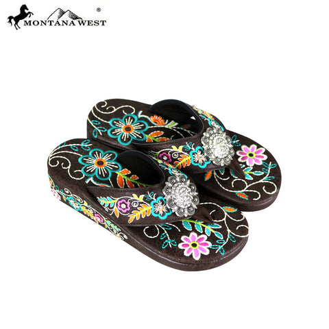 SF03-S001 Montana West Fun Novelty Embroidered Collection Flip Flops