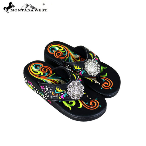 SF04-S001 Montana West Fun Novelty Embroidered Collection Flip Flops