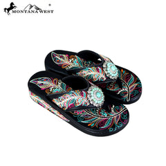 SF06-S096 Montana West Fun Novelty Embroidered Collection Flip Flops