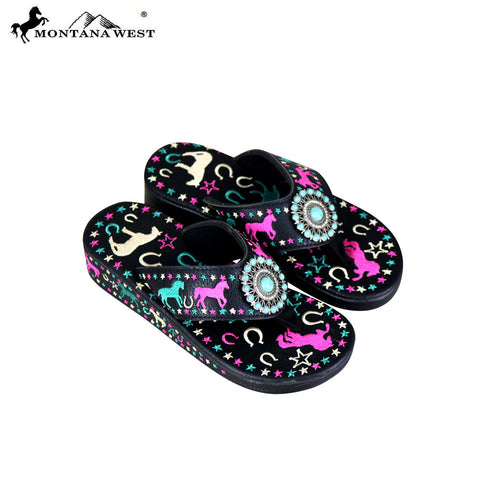 d365460f3 SF07-S144 Montana West Fun Novelty Embroidered Collection Flip Flops