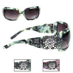 SGS-102F Montana West Camo Diamond Floral Concho Sunglasses