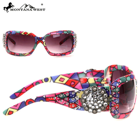 SGS-30A Montana West Floral Concho With Aztec Print Sunglasses