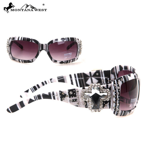 SGS-30B Montana West Spiritual Concho With Aztec Print Sunglasses