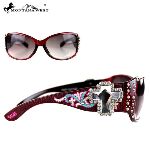 SGS-3604 Montana West Embroidery Spiritual Collection Sunglasses