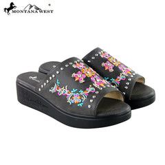 SH-008 Montana West Embroidery Collection Western Wedge Sandal Collection BY CASE