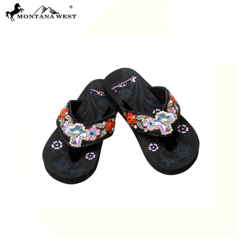 SK09-S008 Floral Embroidery Thin Sole Kid Collection Flip Flops BY CASE