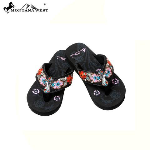 SK09-S088 Floral Embroidery Thin Sole Kid Collection Flip Flops BY CASE