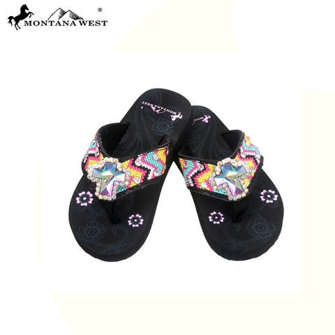SK10-S008 Aztec Thin Sole Kid Collection Flip Flops BY CASE