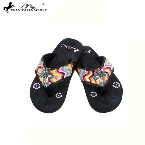 SK10-S088 Aztec Thin Sole Kid Collection Flip Flops BY CASE