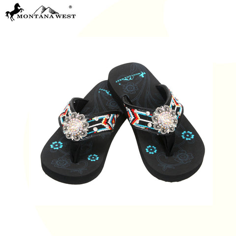SK11-S001 Aztec Thin Sole Kid Collection Flip Flops BY CASE