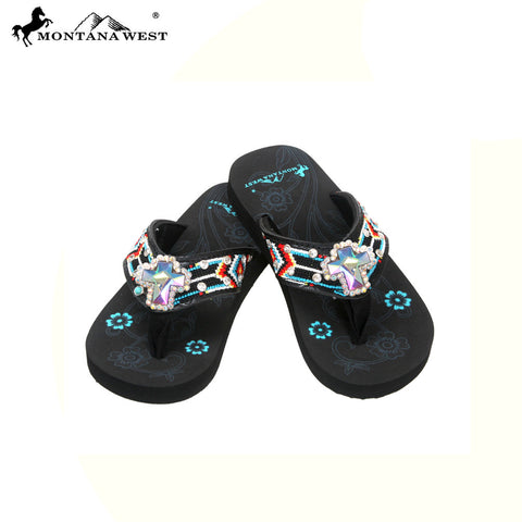 SK11-S008 Aztec Thin Sole Kid Collection Flip Flops BY CASE