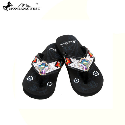 SK13-S008 Aztec Kid Collection Flip Flops BY CASE (Thin Sole)