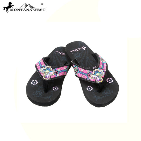 SK14-S008 Aztec Kid Collection Flip Flops BY CASE (Thin Sole)