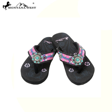 SK14-S066S Aztec Kid Collection Flip Flops BY CASE (Thin Sole)