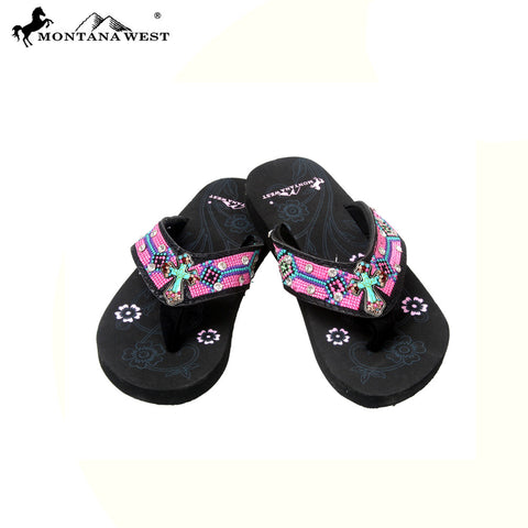 SK14-S088S Aztec Kid Collection Flip Flops BY CASE (Thin Sole)