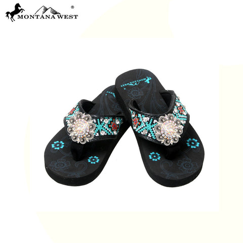 SK16-S001 Aztec Thin Sole Kid Collection Flip Flops BY CASE