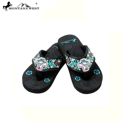 SK16-S008 Aztec Thin Sole Kid Collection Flip Flops BY CASE
