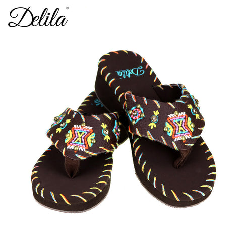 SS-S008  Delila Collection Flip Flops By Size