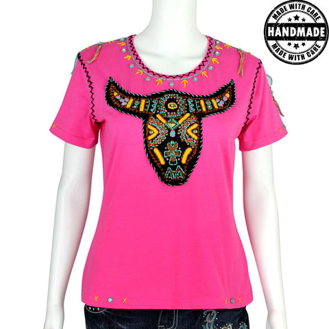 ST-609  Hand Embroidered Bull Skull Collection T-shirt