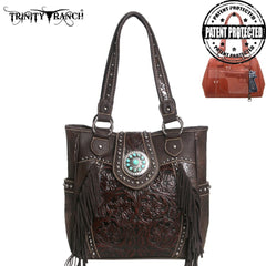 TR04G-8349A Trinity Ranch Tooled Design Concealed Handgun Collection Handbag