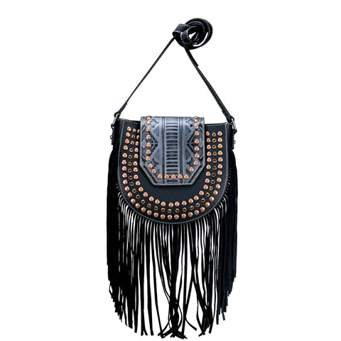 TR104-8360 Trinity Ranch Embossed/Fringe Collection Crossbody Bag