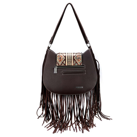 TR104P-8370 Trinity Ranch Embossed/Fringe Collection Hobo Bag